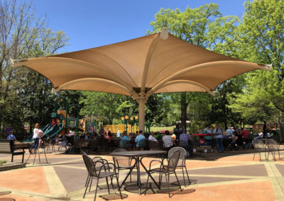 45 Foot Inverted Umbrella Fabric Shade Structure
